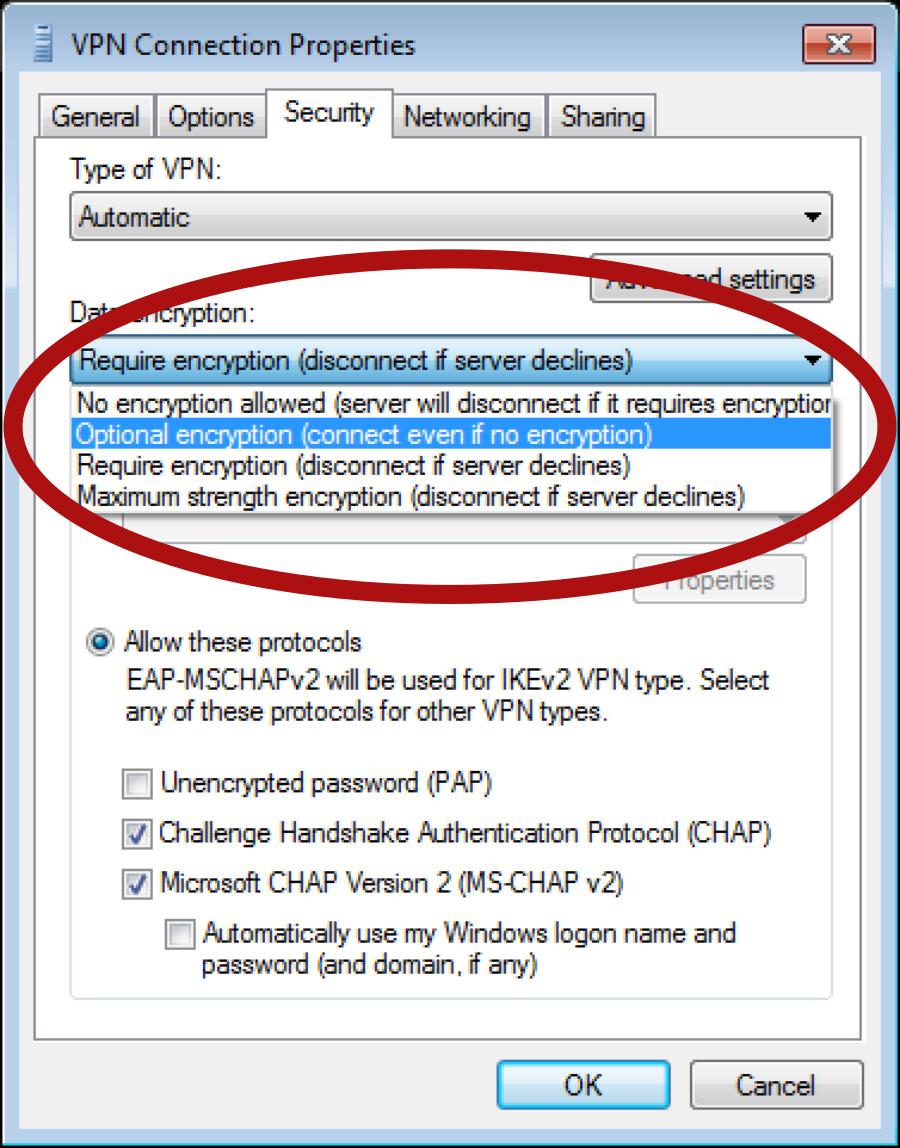 propriétés connexion VPN
