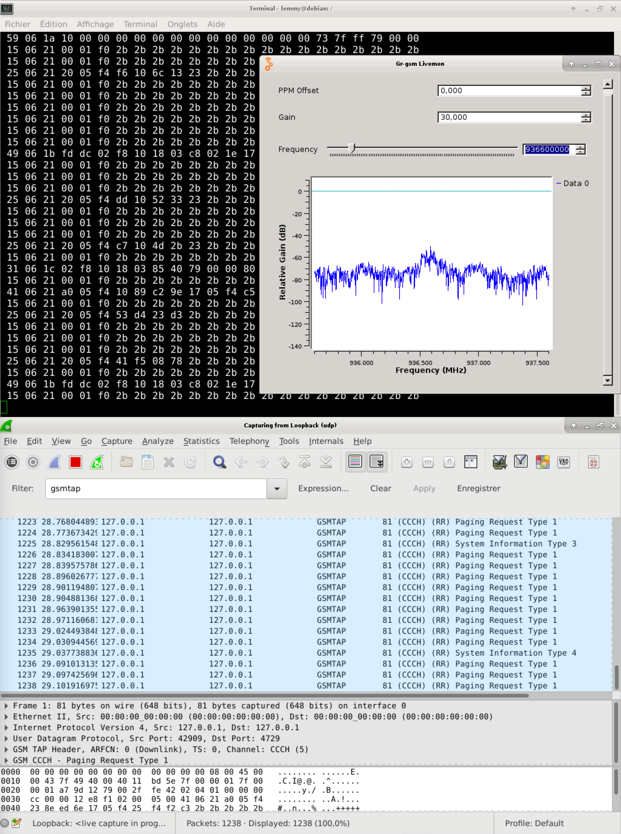 capture d'écran grgsm_livemon avec wireshark