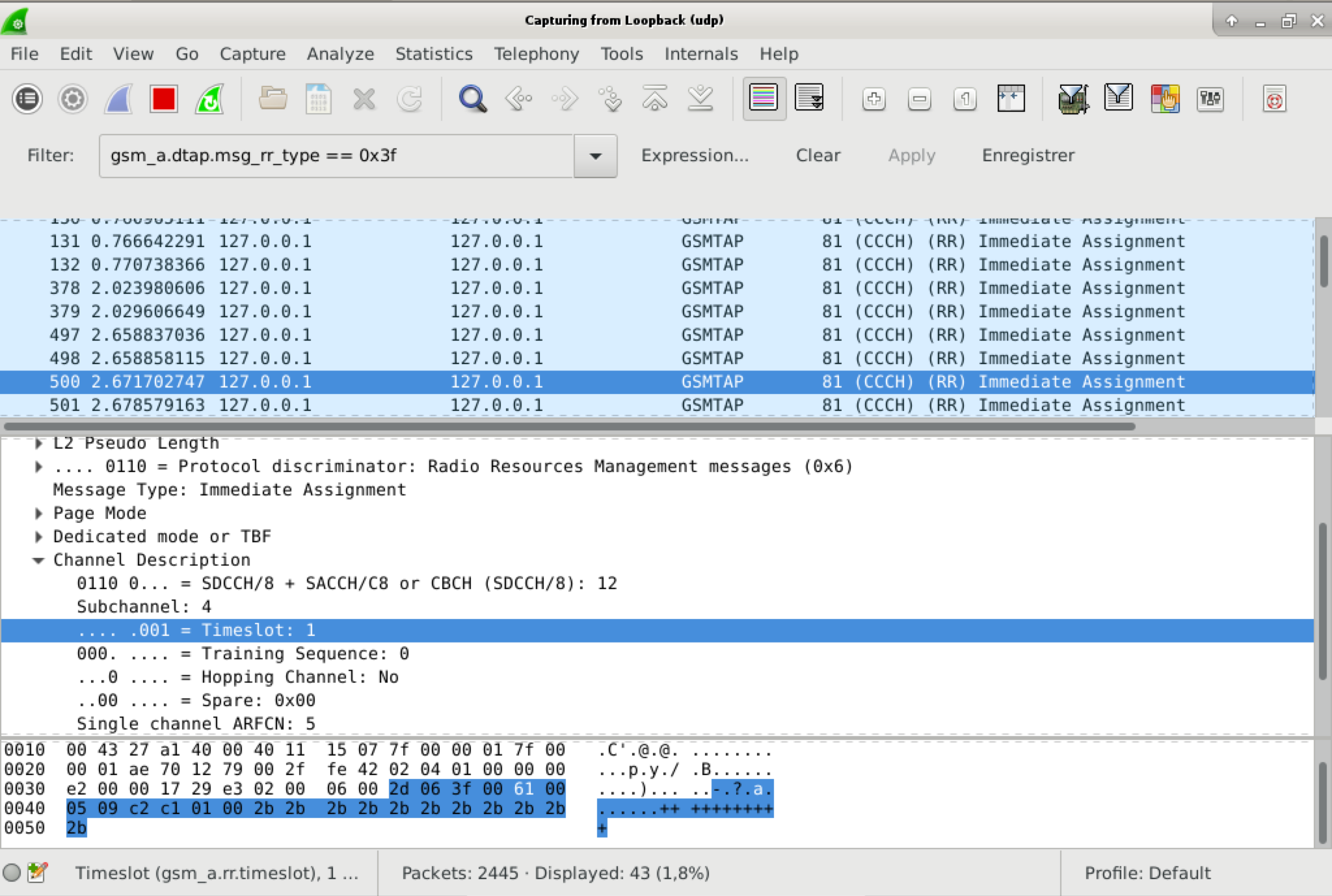 capture d'écran wireshark montrant un Immediate Assignement