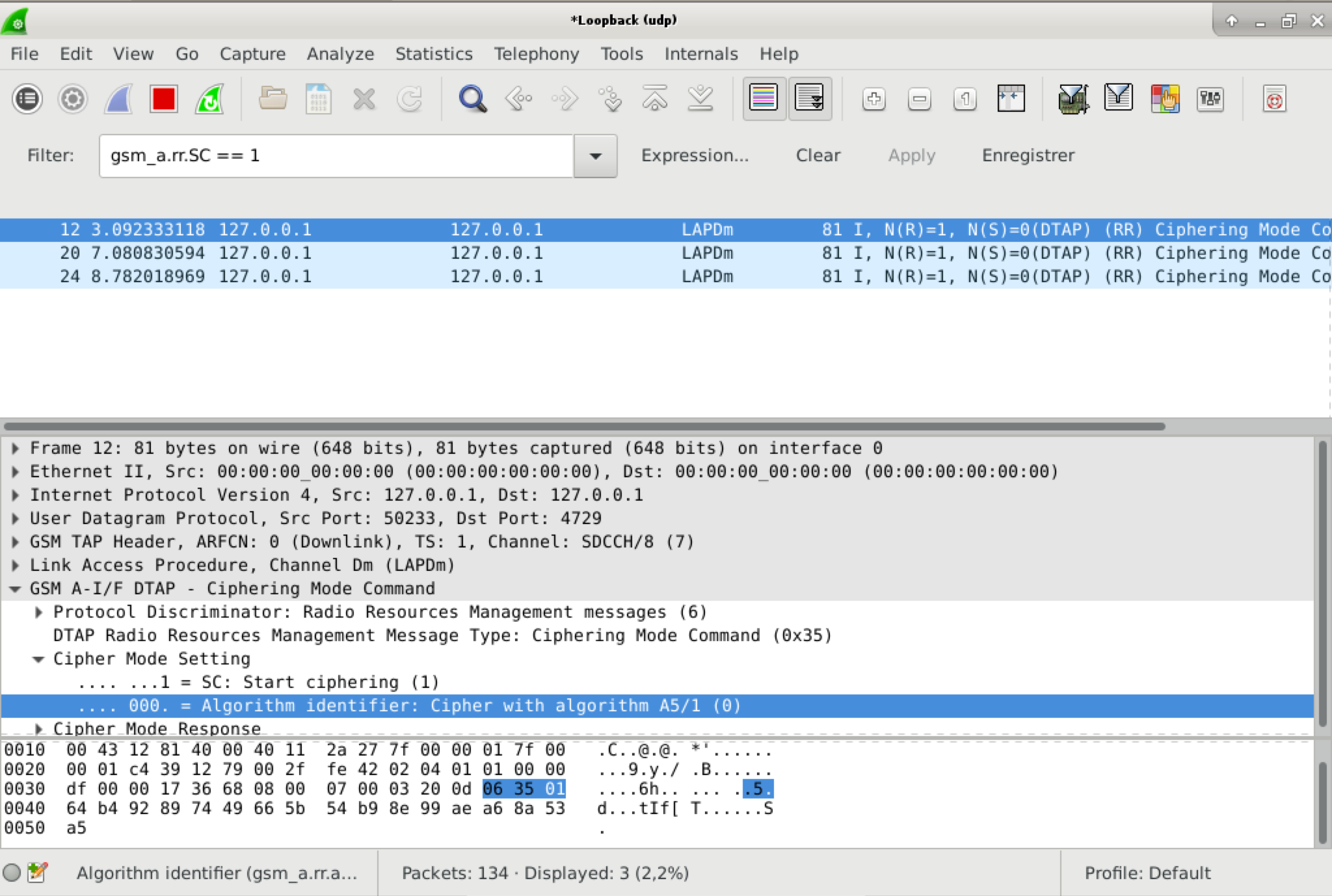capture d'écran wireshark montrant le mode de chiffrement