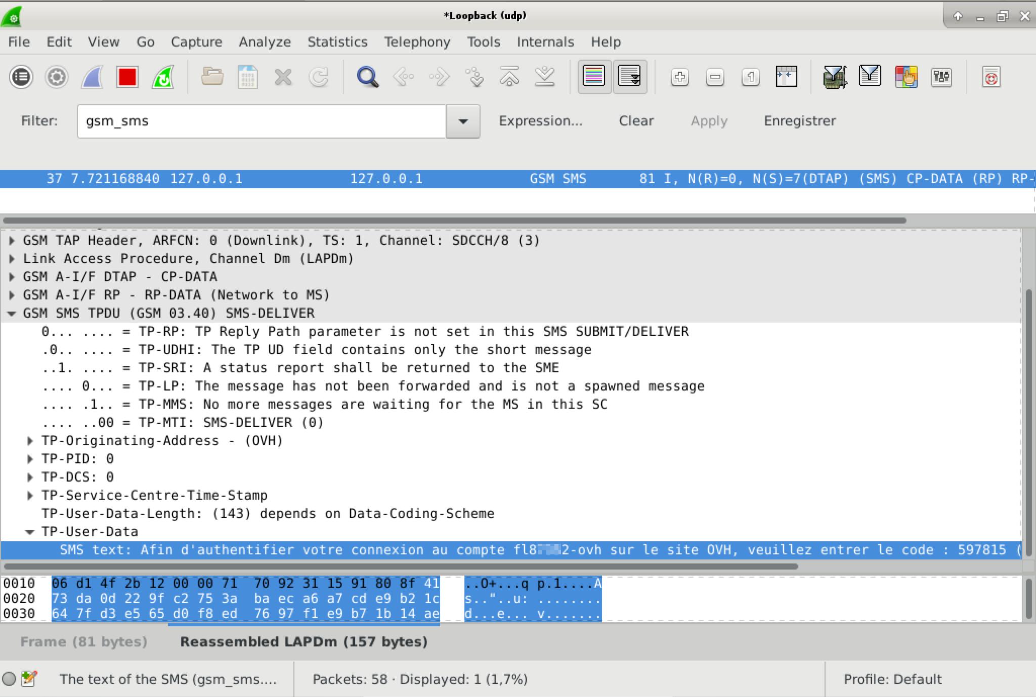 Capture d'écran wireshark montrant le contenu d'un SMS