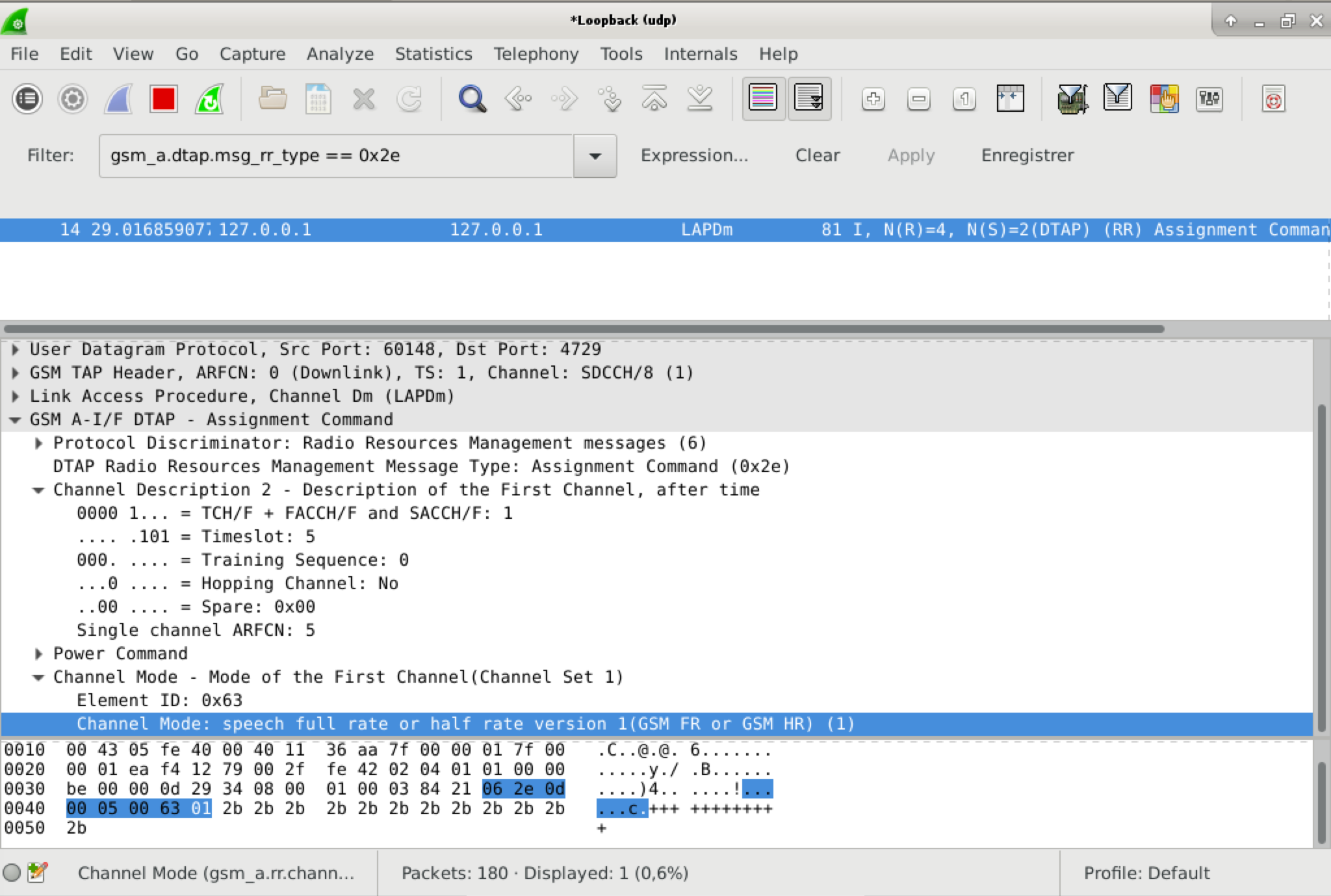 capture d'écran wireshark montrant une Assignement Command